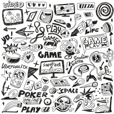 Computers games - set vector icons in sketch style stock vector