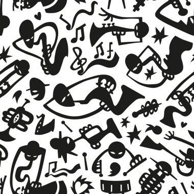 Jazz musicians - seamless vector background