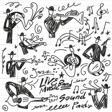 Abstract musicians - doodles set