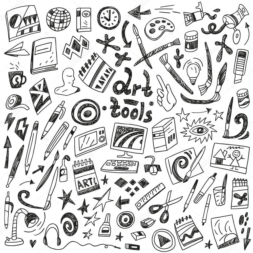 Art tools - doodles set
