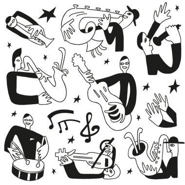 Jazz musicians - doodles set