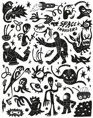 Space invaders ,aliens - doodles set