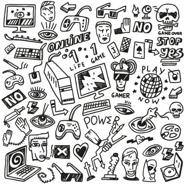 computer games - doodles set