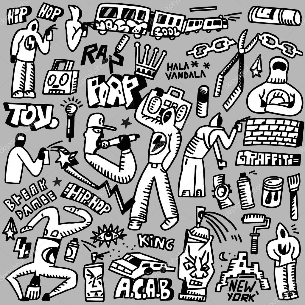 rap hip hop graffiti doodles set stock vector topform 48896515