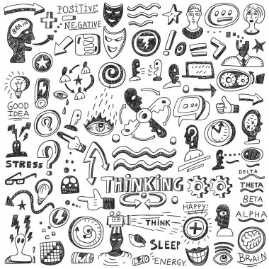 Thinking ,psychology - doodles set