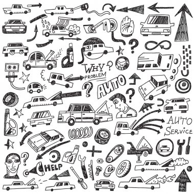 cars , auto repair - doodles