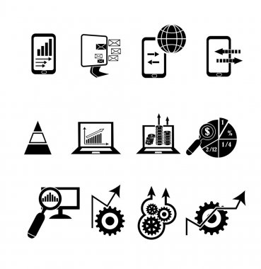 Business data analysis icons