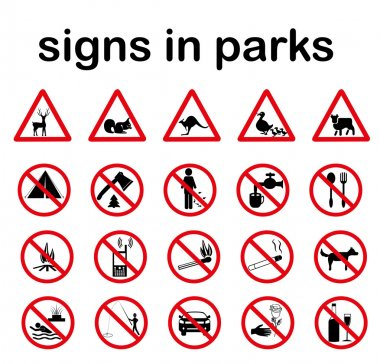Park prohibited signs and ecology warnings
