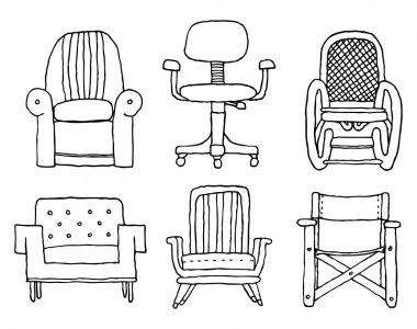 Armchairs set cartoon