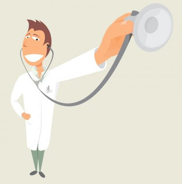 Doctor holding stethoscope. Health clip art vector