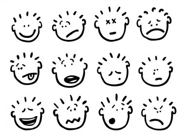 Vector cartoon faces and emotions
