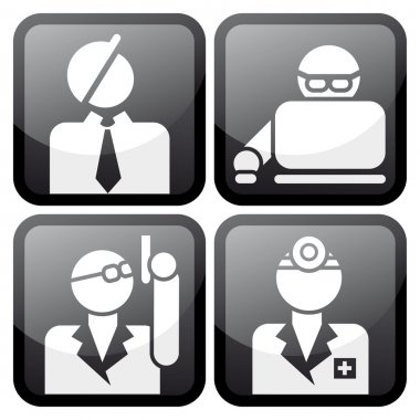 Proffesional at work icon set