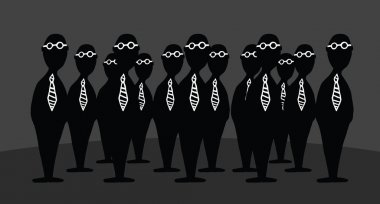 Mystery agents. Bizarre group of businessmen
