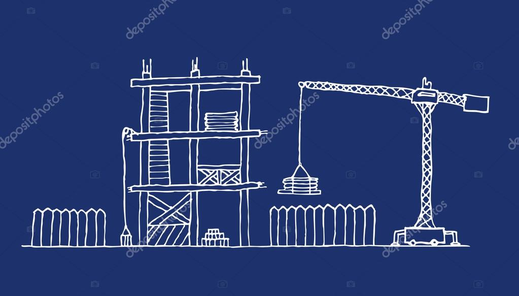 Construction site cartoon blueprint vector de stock curvabezier construction site cartoon blueprint vector de curvabezier malvernweather Images