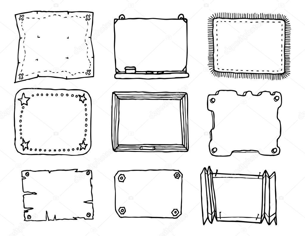 von Hand gezeichneten Vektor Rahmen set — Stockvektor © Curvabezier ...