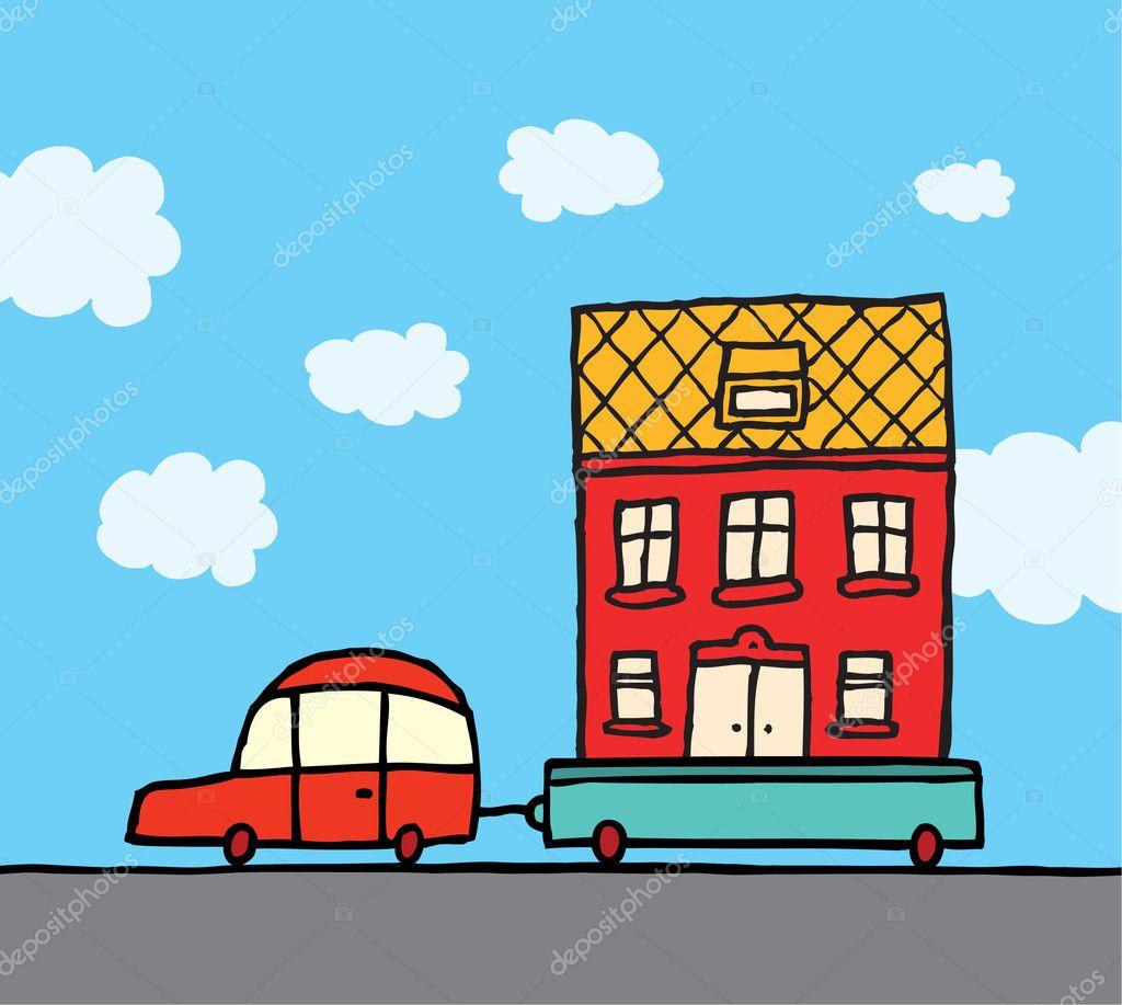 Zu Hause Bewegen Auto Und Anhanger Umzug Haus Stockvektor