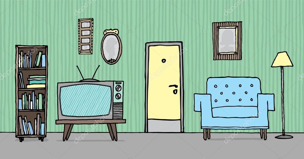 Superbe Coole Vintage Wohnzimmer. Retro Hintergrundu2013 Stockillustration