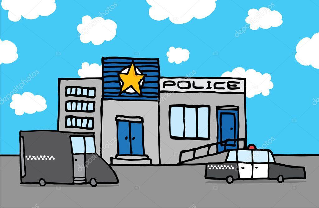 Poste de police de dessin anim image vectorielle - Dessin de police ...