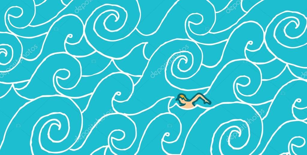 Nadar contra la corriente vector de stock curvabezier for Nadar contra la corriente