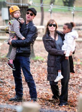 Angelina Jolie And Brad Pitt With Their Children Visit A Park In Budapest, Hungary