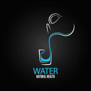 Water glass bottle design menu background