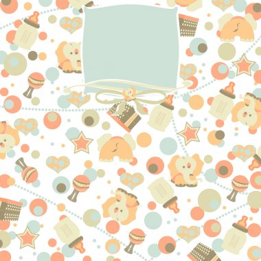 Retro Baby Girl Seamless Pattern Background