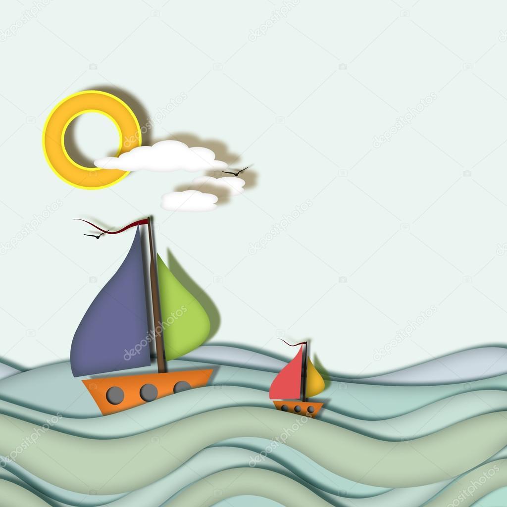 Boats sailing on blue sea