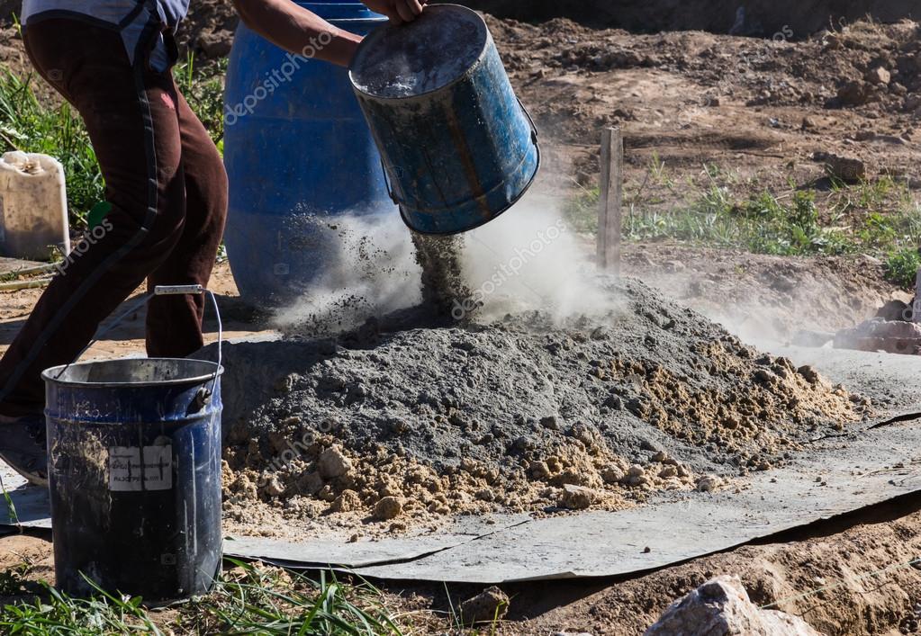 blanda cement och sand