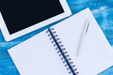 diary, pen, tablet PC