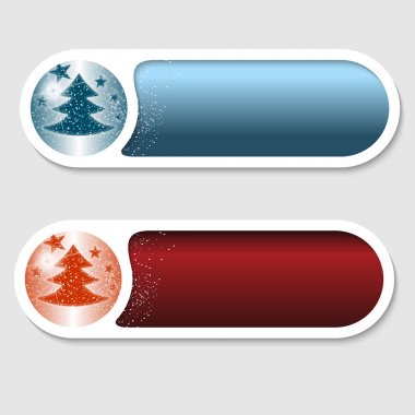 Blue and red vector buttons with a Christmas motif icon
