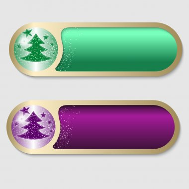 Green and purple vector buttons with a Christmas motif icon