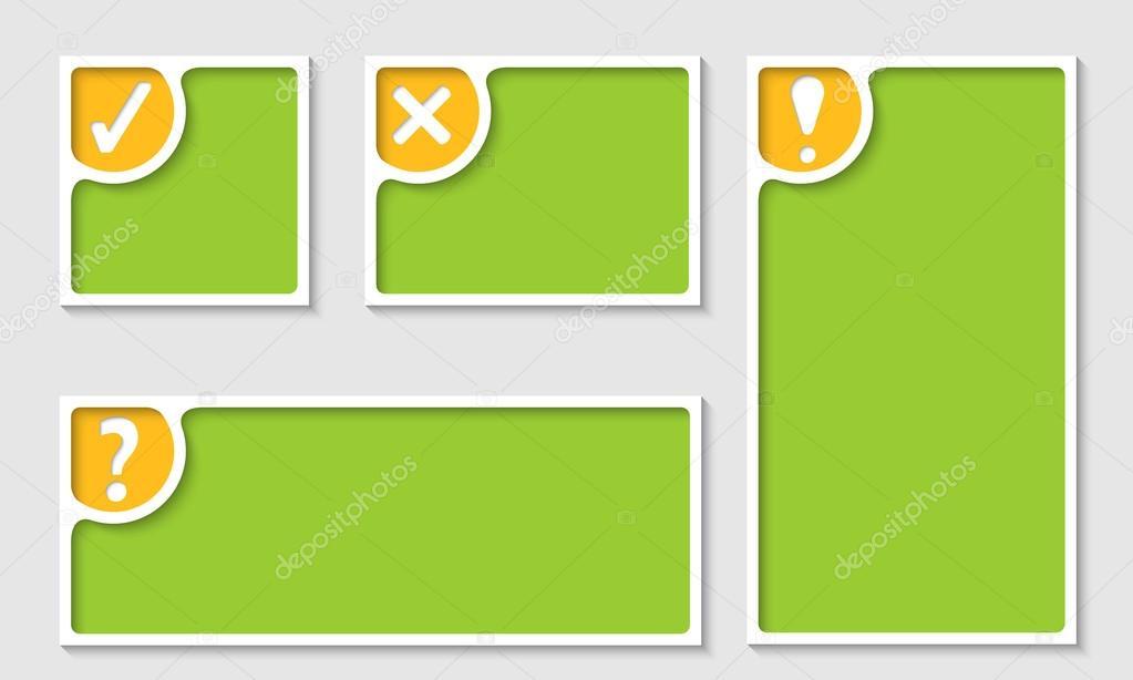 conjunto de cuatro marco de texto con las marcas — Archivo Imágenes ...