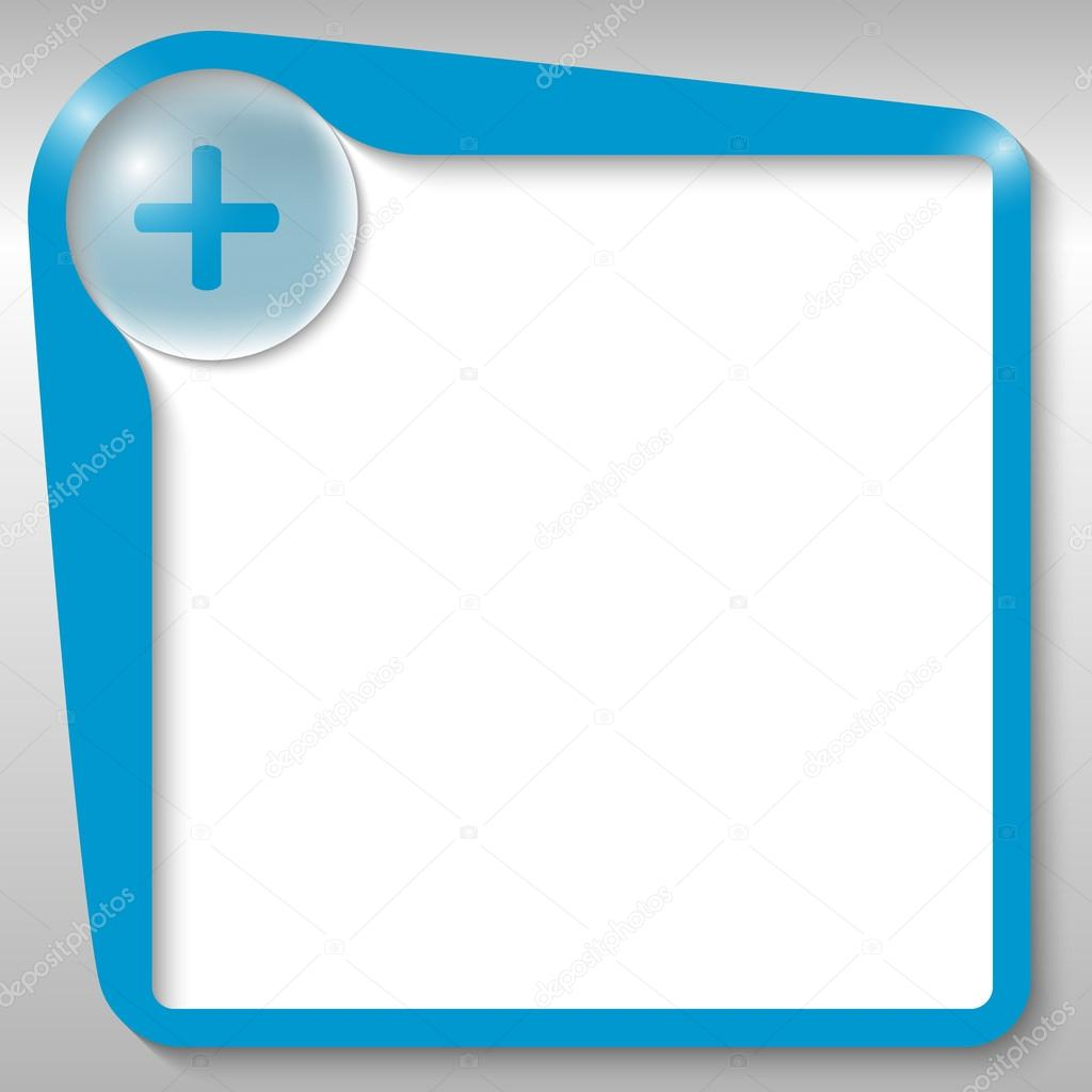 cuadro de texto azul con signo — Vector de stock © garrifrotto #33015261
