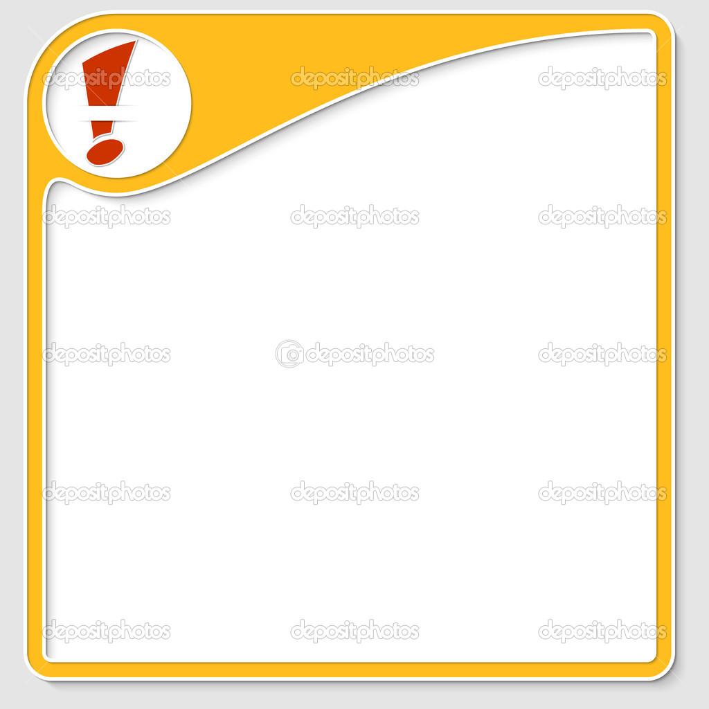 gelber Rahmen für Text mit Ausrufezeichen — Stockvektor ...