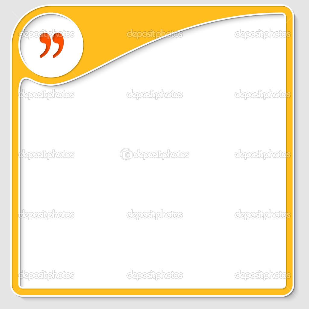 gelber Rahmen für Text mit Anführungszeichen — Stockvektor ...