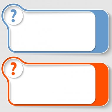 set of two abstract text boxes with question mark