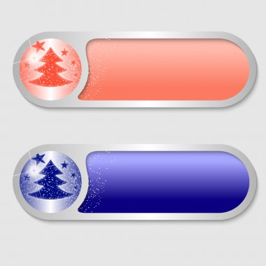 Vector buttons with a Christmas motif icon