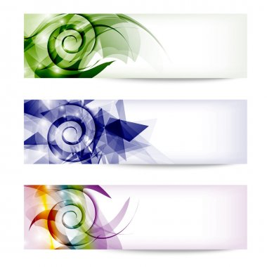 set colored abstract banners with spirals
