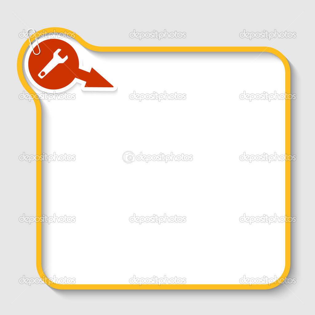 marco de texto vector amarillo con llave y clip — Vector de stock ...