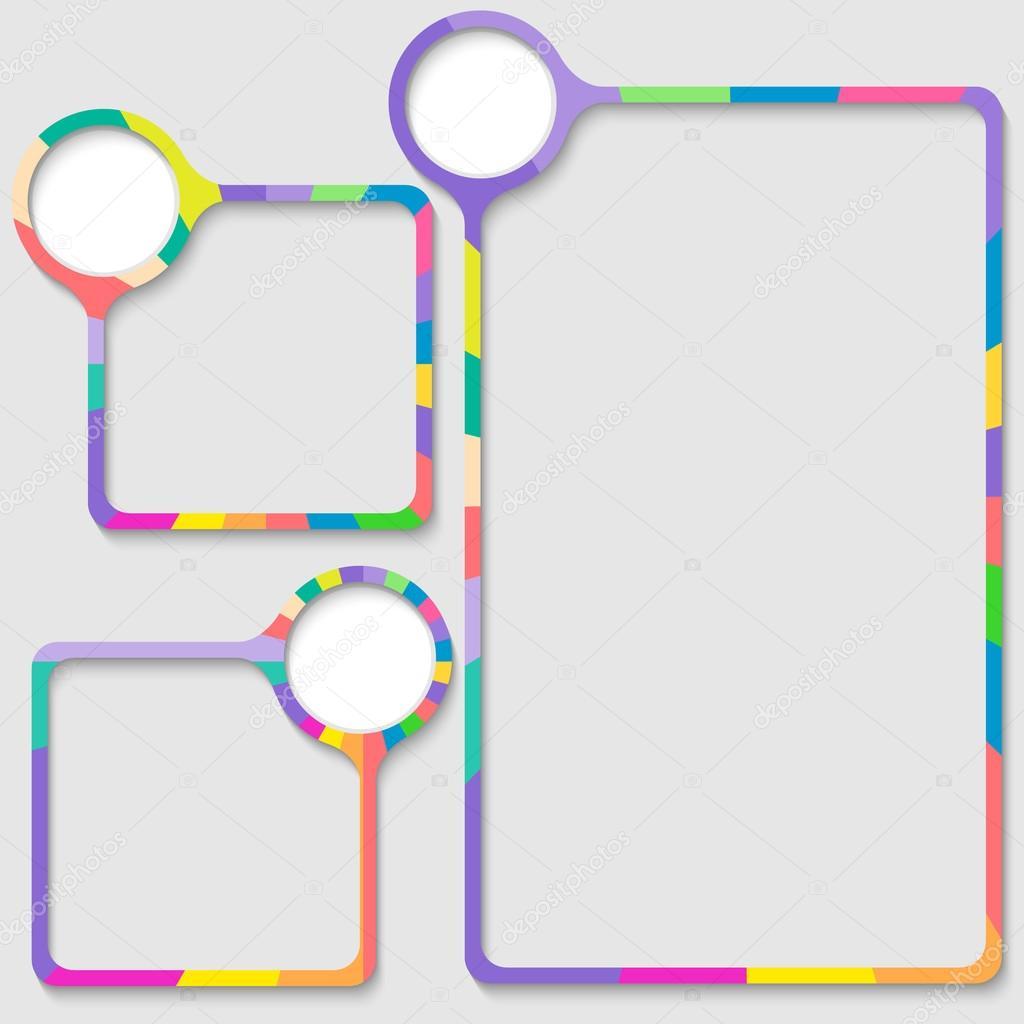conjunto de tres cuadros para introducir texto con marco de color ...