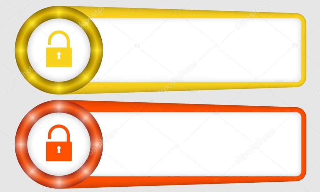 Marcos rojos y amarillos para cualquier texto con candado — Archivo ...
