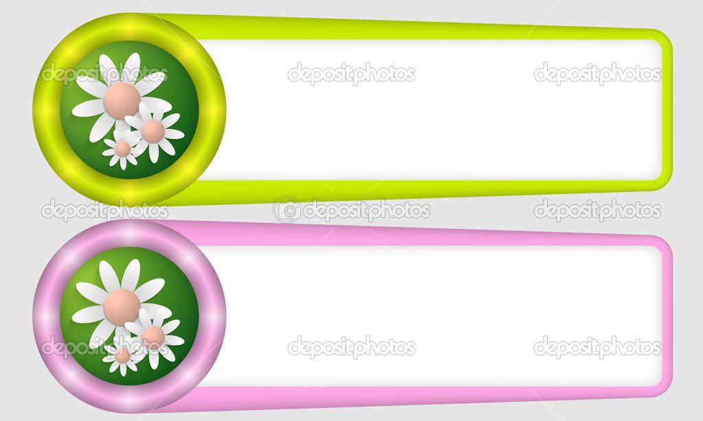 Marcos verdes y morados para cualquier texto con flores — Archivo ...