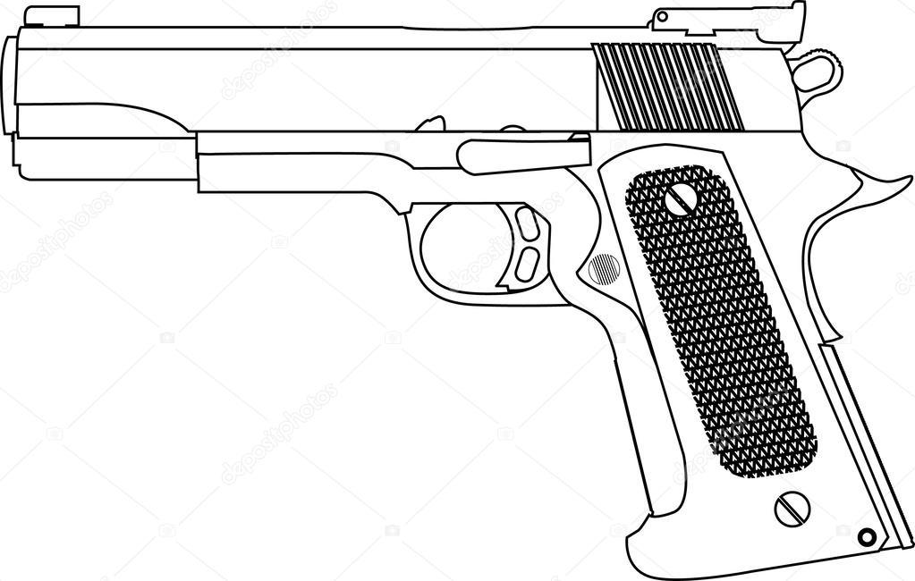 mano pistola trazos del esquema vector aislada — Archivo Imágenes ...