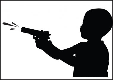 Boy with water gun silhouette