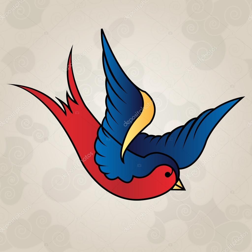 Tattoo Stijl Swallow Old School Stockvector Mixov 36573895