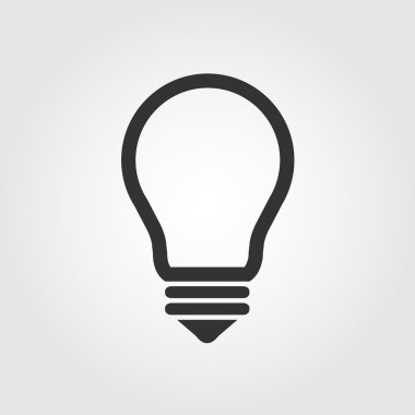 Light bulb icon, flat design