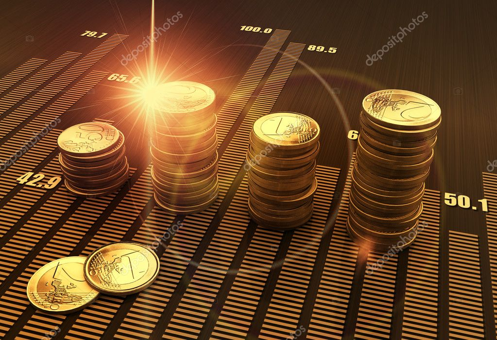 Financial business chart and coins stock vector