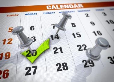 Calendar with check mark