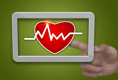 Cardiogram with heart symbol as a background stock vector