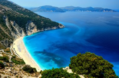 An high shot of the famous Myrthos Beach in Kefalonia, Greece. stock vector